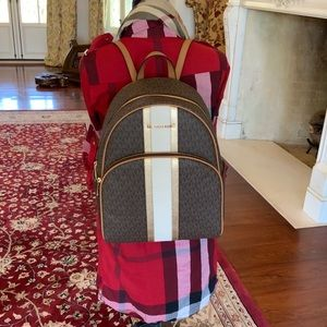 NWT Michael Kors large stripe abbey backpack